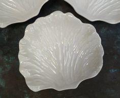 Set 3 White Majolica Leaf Bowls or Dishes. Vintage & Lovely.. $24.00, via Etsy.