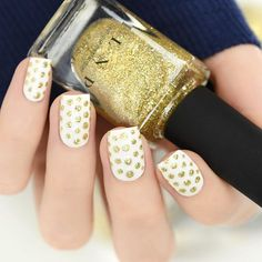 Dotticure nail art using our gorgeous Holiday shade, Empire!! Shop our 2015 Holiday shades on ILNP.com! #ILNPEmpire