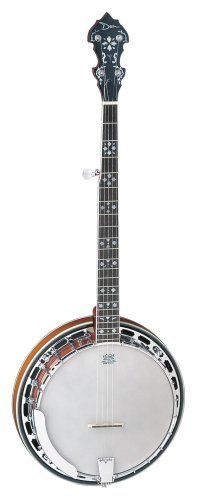 """Dean Backwoods Banjo, Five String by Dean Guitars. $399.00. Dean Backwoods 5 string banjo. Top of the Line Dean Banjo! Plays great and sound fantastic!    BW5    ~26 1/2"""" Scale  ~Mohagany Neck  ~Rosewood Fingerboard  ~Die Cast Tuners  ~Chrome Hardware  ~Celluliod Binding  ~Pearl Flower Inlays"""