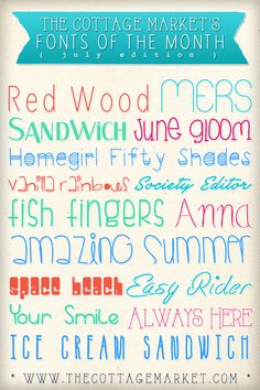 The Cottage Market: Free Summer Time Fun FONTS.  The link to this page also has a ton of other really cool fonts. kh