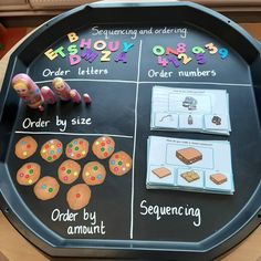 A simple maths tray set up for today based on ordering by size and by amount, ordering letters and numbers and sequencing 3 step routines… Year 1 Classroom, Year 1 Maths, Early Years Maths, Early Math, Early Years Classroom, Maths Eyfs, Eyfs Activities, Toddler Activities, Numeracy