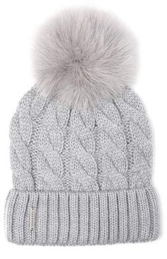 Main Image - Soia & Kyo Cable Knit Beanie with Removable Feather Pompom Grey Gloves, Baby Blanket Crochet, Knit Beanie, Fashion Accessories, Fashion Hats, Fashion Edgy, Winter Fashion, Cable Knit, Winter Outfits