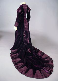 Victorian Purple Velvet Trained Gown...c.late 1870's