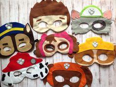 Kit 20 máscara em feltro tema patrulha canina.