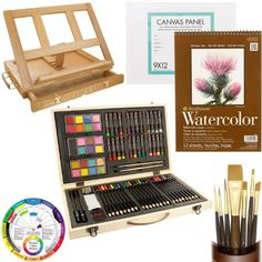 Us Art Supply Custom Artist Painting Kit with Easel, Color Creativity 82 Piece Set, 9 X 12 Watercolor Pad, 9 X 12 Canvas Panel, 7 Golden Taklon Synthetic Hair Paint Brushes, Color Wheel, and Marquis Desk Easel with a Free Wooden Color Mixing Palette -Great Student Artist Starter Set Us Art Supply,http://www.amazon.com/dp/B00FSVTAQG/ref=cm_sw_r_pi_dp_dFNIsb0G5R3W2RGJ