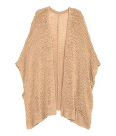 Oversized sleeveless cardigan in ribbon yarn with dropped shoulders, slits at sides, and no buttons.   Warm in H&M