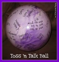 First day of school activity: toss a ball with questions for a getting to know you activity