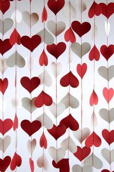 Cortina de corazones para decorar una fiesta de amor y amistad. #DecoracionAmorYAmistad