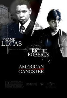 American Gangster - Denzel Washington as Frank Lucas and Russell Crowe as Det. Richie Roberts #GangsterMovie #GangsterFlick