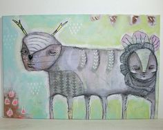 whimsical tribal painting folk art mixed media by thesecrethermit, $55.00