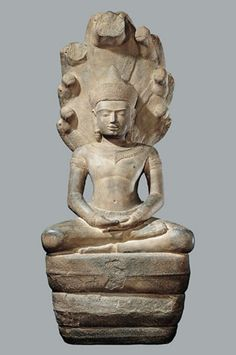Crowned Buddha Seated in Meditation and Sheltered by Muchilinda Thailand or Cambodia; 12th century Sandstone