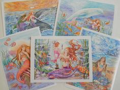 Mermaid Art Prints Set of 5 prints 6 x8 inches by cristinahansen