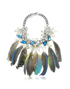 Anabela Chan Crystals and Feathers Necklace at