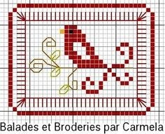 Cross-stitch Red Bird... no color chart available, just use the pattern chart as your color guide.. or choose your own colors... petit-oiseau.jpg