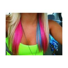 Pink and blue streaks. I have naturally platinum blonde hair, but alas, I have a really job :P