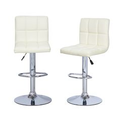 Adeco Cream Leatherette Faux Tufted Adjustable Bar Stools (Set Of 2) - CH0016-4