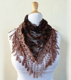 Womens scarf COPPER / BLACK with floral by OriginalDesignsByAR, $16.00