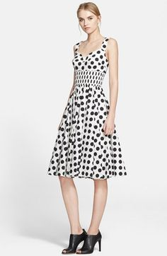 Dolce&Gabbana+Dot+Print+Cotton+Poplin+Fit+&+Flare+Dress+available+at+#Nordstrom