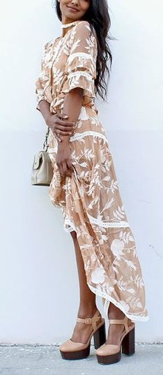 neutral floral summer maxi dress