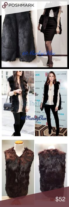 🆕Amazing Long Black Faux Fur Vest So on-trend for the season! Beautiful faux fur vest in black. Has black satin lining. Eye- hooks on inside if you choose to wear vest closed...looks great both ways. True to size. Size chart included 4th pic. 3rd photo is actual vest. Very nice quality.  About 26 inches long. 100% polyester. Feel free to ask questions. Price is firm. 20% off 2 or more items from my closet😊 Jackets & Coats Vests