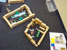 Zoo play with blocks. These kids made individual zoos with their blocks.