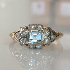 14K Art Deco Aqua Diamond Engagement Ring