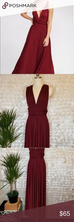 Lulus Burgundy Red Convertable Wrap Maxi Wedding Up for consideration is a preownd womens maxi dress. Dress has a few faint but evident marks overall but is in great overall condition, lots of life left! Rayon/Spandex   /DB Lulu's Dresses Maxi