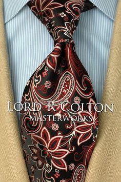 Lord R Colton Masterworks Men's Tie Charleston Onyx & Red Floral Necktie New #LordRColton #NeckTie