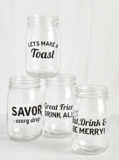 "Love these mason jar ""cheers"" glasses"