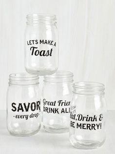 "Love these mason jar ""cheers"" glasses"
