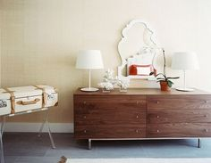 Love the mirror with that dresser   Lonny Magazine Jul/Aug 2011 | Photography by Patrick Cline; Interior Design by Michelle Adams
