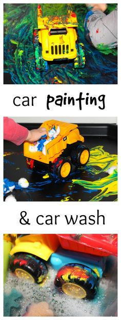 Kids Safety P is for Painting Cars Tuff Spot Messy Little Monster: Car Painting and Car Wash Activity for Kids - painting with toy cars process art for toddlers and preschoolers Toddler Art, Toddler Preschool, Toddler Crafts, Preschool Activities, Car Activities For Toddlers, Cool Toddler Toys, Tuff Tray Ideas Toddlers, Preschool Art Lessons, Process Art Preschool