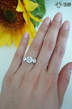 Size 5.25: 14k White Gold, 3 Carat Total, 3 Stone Round Engagement Ring, Man Made Diamond Simulants, Wedding Ring, Bridal, Promise Ring