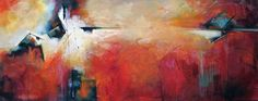 """Artscape""   24x60  Original acrylic abstract painting by Karen Hale, contemporary, modern. bold, bright, red"