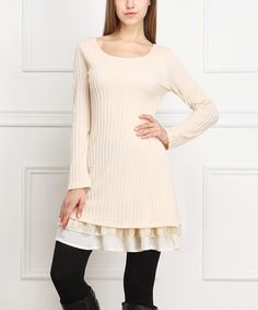 Another great find on #zulily! Oatmeal Lace Sweater Dress by Reborn Collection #zulilyfinds <3