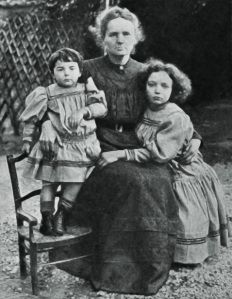 Marie Curies and her daughters, Eve and Irene