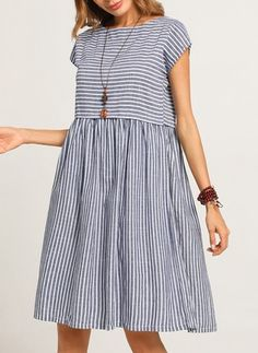 Cotton Stripe Cap Sleeve Knee-Length A-line Dress - Floryday @ floryday.com