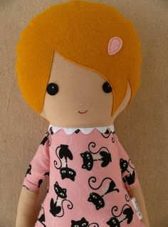 Fabric Doll Rag Doll Girl in Cat Print Dress. $34.00, via Etsy.