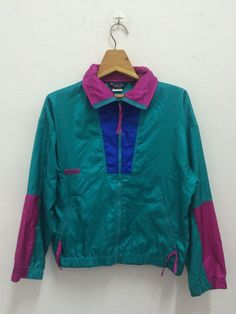 Women's Vintage 90s Columbia Neon Colors Pullover Windbreaker Lightweight Jacket Retro The North Face Berghaus Patagonia Penfield