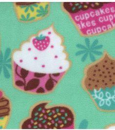 Anti Pill Fleece Print- Cupcakes On Blue: fleece fabric: fabric: Shop   Joann.com