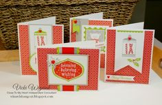 4 Christmas cards using CTMH Cranberry Paper Fundamentals. by Vicki Wizniuk