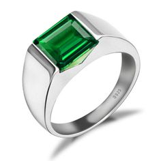 3-6ct-Nano-Russian-Emerald-Mens-Ring-Solid-925-Sterling-Silver-Size-7-8-9-10-11