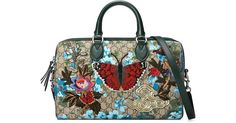 Gucci Linea A Butterfly Embroidered Boston Bag