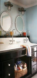 Trough sink - I want this in the kids bathroom!  This would come in handy for brushing teeth before school!!