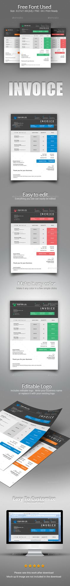 Resume Photoshop illustrator, Template and Cv template - microsoft word invoice template free download