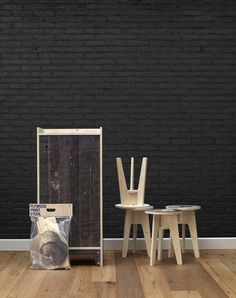 gorgeous but insanely expensive Black Brick Wallpaper design by Piet Hein Eek for NLXL   BURKE DECOR