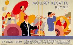 Cartel anónimo de 1928 que sugiere el Metro de Londres como transporte ideal para ir a ver la Regata Molesey en el río Támesis. La obra es una de las 150 de la exposición 'Poster Art 150 – London Underground's Greatest Designs'