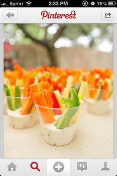 Individual veggie cups. Cute and easy