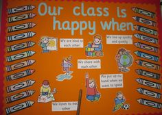 want to reflect class rules:: Our class is happy when. classroom display (source: SparkleBox)Different want to reflect class rules:: Our class is happy when. Classroom Rules Display, Ks1 Classroom, Year 1 Classroom, Classroom Organisation, Class Rules Display Ks2, Classroom Displays Eyfs, Reception Classroom Ideas, Classroom Decor, Organization