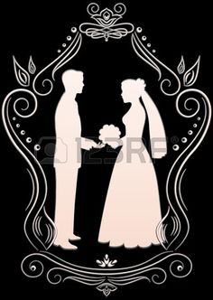 Silhouettes of the bride and groom in a frame on a dark background Stock Vector